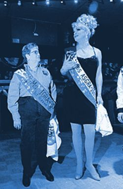 The gay rodeo holds a royalty competition and chooses a Mr., Ms. and Miss to represent each state as King, Queen and (drag) Queen.