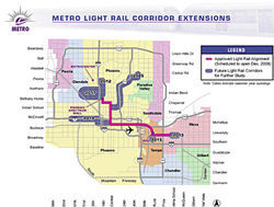 The initial light-rail line is 20 miles long, but in 2004 voters approved 27 more miles of track. Click here to view enlarged map.
