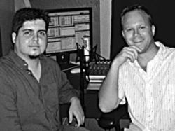Creamy Radio&#039;s David Gould (left) and Derek Grimme in the &quot;groove den.&quot;