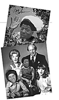 Walter Winfield, depicted as Gary Coleman by co-workers, in a Power Point presentation -- in the Santa hat (top) and center (above). Another Auto Trade Center employee is depicted as Todd Bridges (above left).