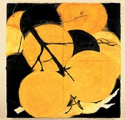 Oranges, February 27, 1987: tar, oil, latex and  plaster on linoleum over Masonite