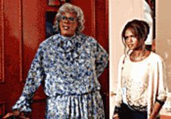 Kind of a drag: Tyler Perry (left, with Kimberly Elise) plays three roles, including the grandmother, in Diary of a Mad Black Woman.