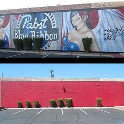 The Pabst Blue Ribbon mural was tagged and painted over in early August, as the marketing campaign ended.