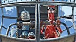 Heavy metal: Rodney Copperbottom (left, voiced by Ewan McGregor) takes a ride on the Crosstown Express with Fender (Robin Williams) in Robots.