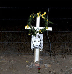 A roadside memorial to Tawni Lee Mazzone.
