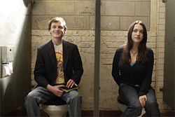 Troubled Youth™: Anton Yelchin and Kat Dennings, in need of a good fight, in Charlie Bartlett.
