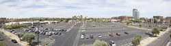Tempe Center's parking lot and mostly empty strip mall.