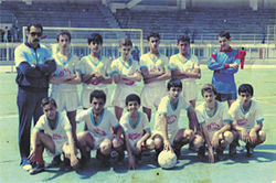 Sofaine Laimeche (far right, crouching), with his youth league soccer team in Algiers, circa 1984