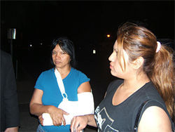 Maria del Carmen Garcia-Martinez, shortly after her release from ICE custody. MCSO officers broke her arm.