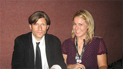 Gee, Crispin, where's the funeral? Actor Crispin Glover with Midnite Movie Mamacita Andrea Beesley-Brown at Chandler Cinemas in May.
