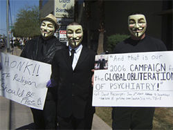 Will the real Guy Fawkes please step forward? Members of Anonymous at the recent anti-Scientology protest.