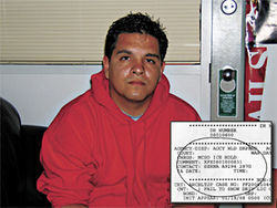 "U.S. citizen Israel Correa, with detail from his MCSO booking report, which indicates an ""MCSO ICE Hold."""