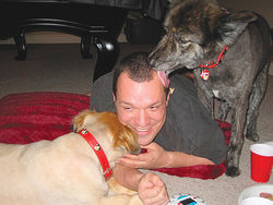 One of Sean Drenth's greatest pleasures was hanging with his beloved dogs.