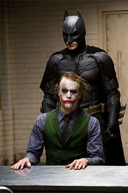 Battle of wills: Christian Bale and Heath Ledger star in The Dark Knight.