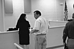 Bob Owens at the 4th Avenue Jail courtroom with attorney Jennifer Healey, shortly after his surrender last week.