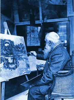 Claude Monet painting a view of his gardens at Giverny.