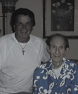 Evangelist Leroy Jenkins (left) with Neal Frisby during the final days of Neal's life.