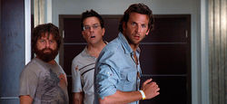 Stale shtick: Zach Galifianakis, Ed Helms, and Bradley Cooper go for the easy money in The Hangover Part II.