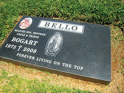 Bogart Bello's gravestone overlooks his old gang East L.A. territory.