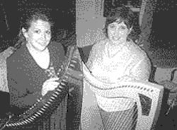 Gillian Nieboer (left) and Leslie Jabara are Fiona-McGregor, a harp duet with a thing for cheesy &#039;80s pop music.