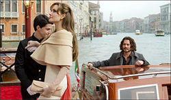 Venice, anyone?: Angelina Jolie and Johnny Depp compare jawlines in The Tourist.
