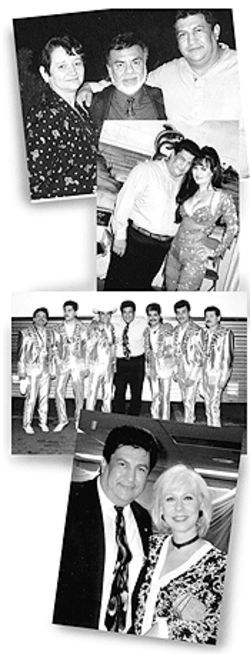 "From top: Monreal with his wife Aurelia and Tex-Mex legend ""Little Joe"" Hernandez; with singer Maribel Guardia; with veteran band Los Tigres del Norte; with Latina talk-show host Cristina."