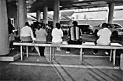 Mexican nationals at a Nogales port of entry wait for their vehicles to pass inspections by U.S. border officers. More than 1,200 pounds of meth have been seized at the Mexico-Arizona border so far this year.