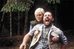 Its a scream: Laura Harris and Andy Nyman feel the hurt in Severance.