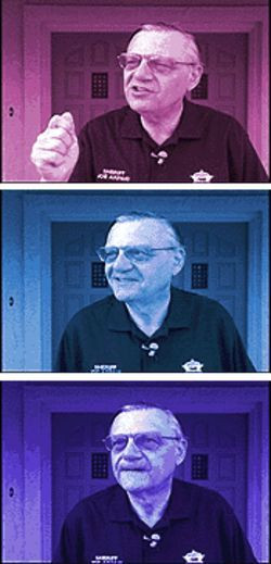 Sheriff Joe Arpaio puts on his tough-guy show for the press.