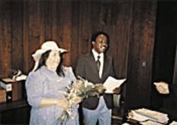 Barbara Levy and Emmanuel Agyeman at their wedding in 1991.