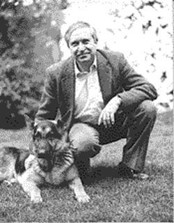 Poet Homero Aridjis and his dog, Rufus.