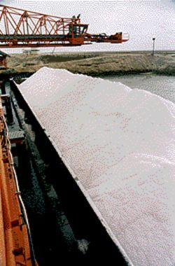 A salt barge at the Guerrero Negro salt factory.