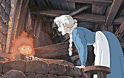 A long, strange trip: Calcifer (voiced by Billy Crystal) and young Sophie (Emily Mortimer) in Howl's Moving Castle.