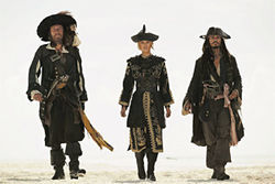 From left, Geoffrey Rush, Keira Knightley and Johnny Depp in Pirates of the Caribbean: At Worlds End.