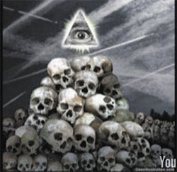 One of the gruesome anti-Masonic images employed by the troofer group We Are Change.
