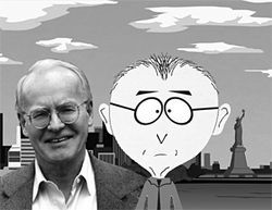 "Religion professor David Ray Griffin, author of  Debunking 9/11 Debunking, joins South  Park's Mr. Mackey on the hunt for whoever dropped the ""urinal deuce."""