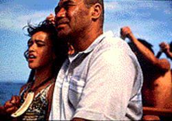 Keisha Castle-Hughes as Paikea and Rawiri Paratene as Koro in Whale Rider. 