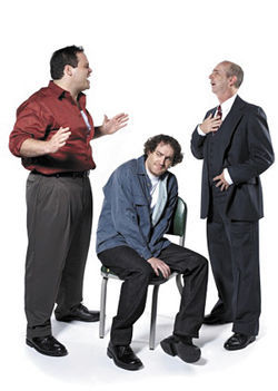 Jon Gentry (far right) in The Pillowman.