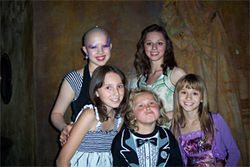 Allison DuBois' daughters hang with two of the girls who play them on TV. From left, Sofia Vassalieva, Fallon DuBois, Maria Lark, Aurora DuBois, and Sophia DuBois.