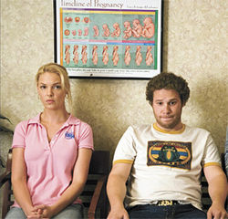 Pregnant pause: Katherine Heigl and Seth Rogen face reality in Knocked Up.
