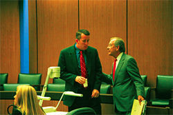 David Barnes (left) with his lawyer, Craig Mehrens.