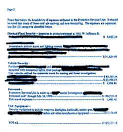 The above memo -- including redactions -- reflects DOC expenses for the first year of the security unit's operation. Larger View