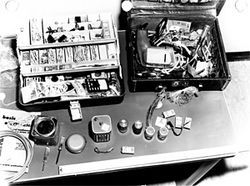 FBI evidence photos document bombmaking supplies found in a Weather Underground safe house in Nob Hill in 1971.