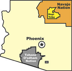 The Tohono OÂ'odham Nation covers 2.8 million acres, comparable to the size of Connecticut.