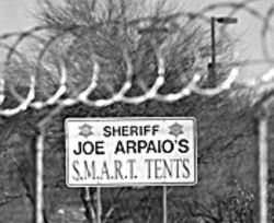 Even the sign is wrong: There's nothing S.M.A.R.T. about  Tent City.