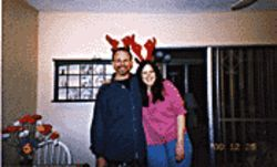 Leslie Christiansen in a holiday photo with her brother.