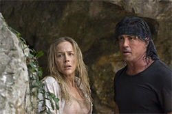 Irony-free Sly: Julie Benz and Sylvester Stallone serve up the ultimate cold dish in Rambo.