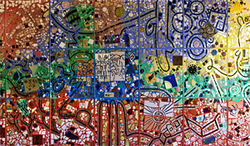 Detail from wall mural by Isaiah Zagar