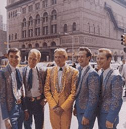 Owens with his Buckaroos in front of Carnegie Hall.