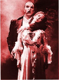 Bradley Little and Rebecca Pitcher in The Phantom of the Opera.